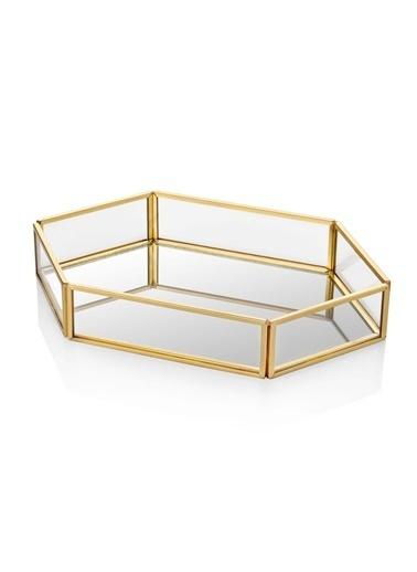 The Mia Brass Tepsi 23 x 14 Cm Altın